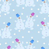 Seamless pattern, cheerful New Years snowmen. Vector illustration Stock Photography