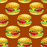 Seamless pattern with cheeseburgers Stock Photography