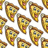 Seamless pattern of cheesy salami cartoon pizza Royalty Free Stock Image