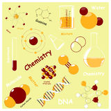 Seamless pattern with Chemistry elements. Royalty Free Stock Photo