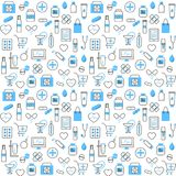 Seamless Pattern With Chemists and Pharmacy Icons vector illustration