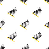 Seamless pattern with chequered racing flags on flagstaff. Vector illustration. Seamless pattern with chequered racing flags on flagstaff on white background Royalty Free Illustration