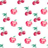 Seamless pattern with cherries and apples vector illustration