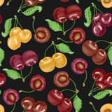 Seamless pattern with cherries on dark background. Vector illustration for your design Stock Photography