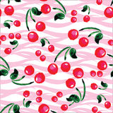 Seamless pattern with cherries . Hand drawing watercolor Stock Photo