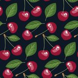 Seamless pattern with cherries and leaves on dark background. Vector print for your design. Perfect for fabric, wallpaper, backdrop, wrap, etc Stock Images