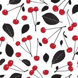 Seamless pattern with cherries and leaves on white background. vector illustration