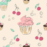 Seamless pattern, cherries, mint and  cupcakes Royalty Free Stock Photography