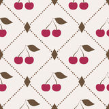 Seamless pattern with cherries and polka dot rhomb Royalty Free Stock Photography