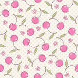 Seamless pattern with cherries. Vector illustration Stock Images