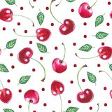 Seamless pattern with cherries on a white background vector illustration
