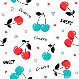 Seamless pattern with cherries on white background. Royalty Free Stock Photo
