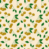 Seamless pattern with cherries Stock Photo