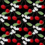 Seamless pattern with cherry anf flowers on black Royalty Free Stock Image