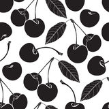 Seamless pattern with cherry. Black and white  background. Royalty Free Stock Images
