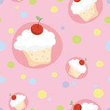 Seamless pattern with cherry cupcakes Royalty Free Stock Photo