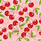 Seamless pattern with cherry and flowers vector illustration