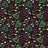Seamless pattern with cherry and heart romantic elements on the dark background. vector illustration