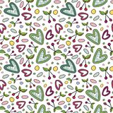 Seamless pattern with cherry and heart romantic elements.For season summer design. Seamless pattern with cherry and heart romantic elements.Multicolor graphic on stock illustration