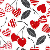 Seamless pattern with cherry-heart. Vector illustration. Decorative background for Valentine`s Day or wedding. Seamless background with cherry-heart. Vector Royalty Free Stock Photography