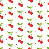 Seamless pattern with cherry icon in flat style. Isolated object. Vector illustration. stock illustration
