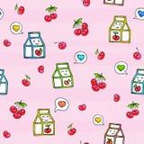 Seamless pattern cherry juice Stock Image