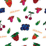 Seamless pattern with cherry, leaf, raspberry, strawberry, lips and tongue . Vector background. Stock Images