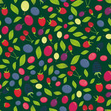 Seamless pattern with Cherry Strawberry Raspberry Blackberry Blueberry Cranberry Cowberry Goji Grape on dark green background. Vec. Tor illustration Royalty Free Stock Photo