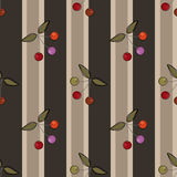 Seamless pattern with cherry on striped background Stock Images