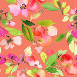 Seamless pattern of cherry watercolor. Royalty Free Stock Photos