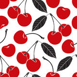 Seamless pattern with cherry on a white background. Royalty Free Stock Images