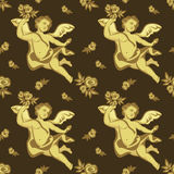 Seamless pattern with  cherubs. Seamless raster pattern with roses and cherubs Stock Photography