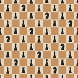 Seamless pattern of chess on chessboard Royalty Free Stock Photos