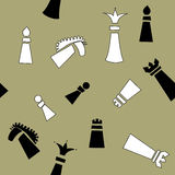 Seamless pattern with chess pieces.  Stock Photo