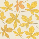 Seamless pattern with chestnut leaves Royalty Free Stock Images
