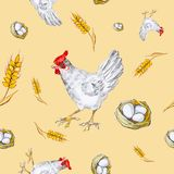 Seamless pattern of a chicken, chicken egg in a basket and a wheat ear. Watercolor illustration isolated on yellow background royalty free illustration