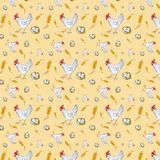 Seamless pattern of a chicken, chicken egg in a basket and a wheat ear. Watercolor illustration isolated on yellow background vector illustration