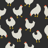 Seamless pattern with chicken on dark background. An illustration for your creativity. This is seamless pattern. Good choice for pattern of textile, gift paper Stock Images
