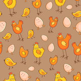 Seamless pattern chicken eggs and chicks Stock Photography