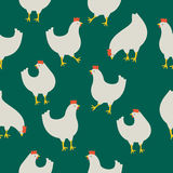 Seamless pattern with chicken on green background. An illustration for your creativity. This is seamless pattern. Good choice for pattern of textile, gift paper Stock Images