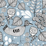 Seamless pattern with chicken and roses. Stock Images