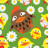Seamless pattern with chickens Royalty Free Stock Image