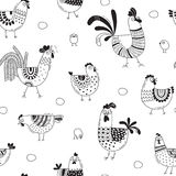 Seamless pattern with chickens, roosters, eggs in cartoon style, line art. Background for design cover product packaging Royalty Free Stock Photography