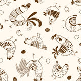 Seamless pattern with chickens, roosters, eggs in cartoon style, line art. Background for design cover product packaging Royalty Free Stock Photo