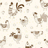 Seamless pattern with chickens, roosters, eggs in cartoon style, line art. Background for design cover product packaging Stock Image