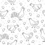 Seamless pattern with chickens, roosters. Royalty Free Stock Image