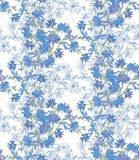 Seamless pattern with chicory. Round kaleidoscope of flowers and floral elements Stock Photo