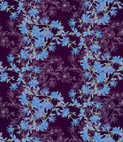 Seamless pattern with chicory. Round kaleidoscope of flowers and floral elements Royalty Free Stock Photography