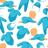 Seamless pattern with child and clothing in blue. Tones stock illustration