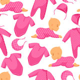 Seamless pattern with child and clothing in pink Stock Image